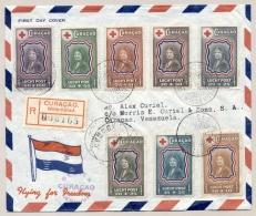 Curacao - 1944 - Complete LP-serie Rode Kruis / Juliana Op Censored LP-cover, 1e Dag Van Willemstad Naar Caracas - Curaçao, Nederlandse Antillen, Aruba