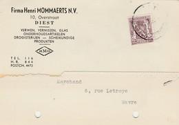 DIEST ,carte  Publicié  ,Firma Henri  Mommaerts , Verwen Vvernissen, Glas,drogisterijen - Diest