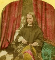 France Fantaisie Portrait Féminin Jeune Fille Ancienne Photo Stereo Colorisee 1865 - Stereoscopic