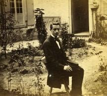 France Fantaisie Portrait Masculin Homme Au Jardin Ancienne Photo Stereo 1865 - Stereoscopic