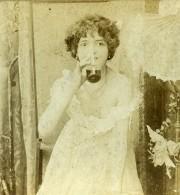 Royaume Uni Fantaisie Portrait Féminin Boisson Ancienne Photo Stereo 1900 - Stereoscopic