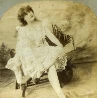 Royaume Uni Fantaisie Portrait Féminin Femme Pensive Assise Ancienne Photo Stereo 1900 - Stereoscopic