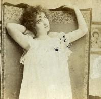 Royaume Uni Fantaisie Portrait Féminin Femme Pensive Ancienne Photo Stereo 1900 - Stereoscopic