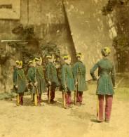 France Ecole Militaire Enfants En Uniformes Ancienne Photo Stereo Colorisee 1870 - Stereoscopic