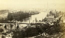 France Rouen Panorama La Seine Pont Ancienne Photo CDV Neurdein 1870 - Photographs