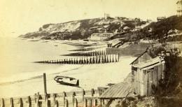 France Le Havre La Hève Barque La Plage Ancienne Photo CDV Neurdein 1870 - Photographs