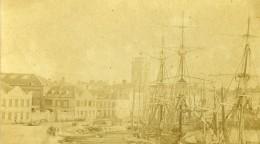 Nord De La France Port Non Identifie Voiliers Ancienne Photo CDV 1870 - Photographs