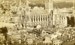 France Rouen Eglise Saint Ouen Panorama Ancienne Photo CDV 1870 - Photographs