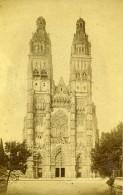 France Tours Cathedrale Façade Ancienne Photo CDV Neurdein 1870 - Photographs