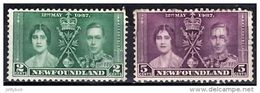 NEWFOUNDLAND 1937 Coronation 2c, 5c Used - 1908-1947