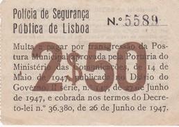 PORTUGAL LISBOA - PSP - POLICIA DE SEGURANÇA PÚBLICA - MULTA  De PEÕES 1947 - Traffic Ticket - Fine Pedestrians - Organizations