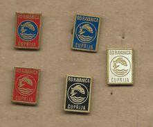 """Sport Fishing Society - ,,Ravanica """" .Cuprija. Serbia. Lot - 5 Pins Fish - Badges"""