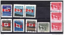 CANADA 1989 Flags 7 Values Used - 1952-.... Reign Of Elizabeth II