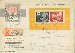 Block 7 Auf Brief Mit Sonderstempel, Gelaufen Nach Chemnitz Mit Ankunftsstempel, O 27.8.1950 (4) - [6] Democratic Republic