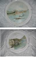 """COPPIA Enormi PIATTI ( Diam. Cm.55 ) CERAMICA , DIPINTI Mano Firmati """" G.CASTELLI 1899"""" - Ceramics & Pottery"""