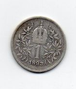 Austria - 1893 - 1 Corona - Francesco Giuseppe - Argento - Vedi Foto - (MW1004) - Austria