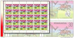 Rwanda 0812**  30c  Télécommunication -  Feuille / Sheet De 30 MNH POSTILLON A  CHEVAL -HORSE - 1970-79: Neufs
