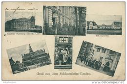 DE EMDEN / Kaserne Hamburg-Amerika-Linie, Soldatenheim Emden, Art-Kaserne, Isdern-Kerl, Wache / - Emden