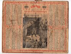 Calendrier Almanach Des Postes Et Télégraphes 1892 Oberthur La Grande Ménagerie Plus Célèbres Dompteurs Cirque - Calendriers