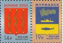 Russland Russia 2016 MNH ** Mi Nr. 2347-2348 Coat Of Arms Velikie Luki; Murmansk - Unused Stamps