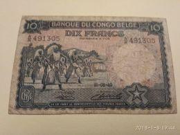 10 Francs 1949 - Belgian Congo Bank