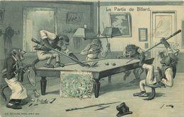 SINGES - La Partie De Billard.(carte Gaufrée) - Singes