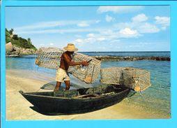 Cp  Carte  Postale  - Seychelles Pecheurs Sa Pirogue Et Casiers - Seychelles