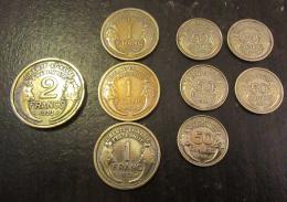 Lot De 9 Monnaies Françaises Type Morlon (5 X 50 Cts, 3 X 1 Fr, 1 X 2 Frs) Voir Détails Dans La Description - TTB à SUP - France