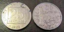 2 Monnaies 25 Centimes Patey 1er Et 2e Type 1903 Et 1904 - Détails Dans La Description - TTB à SUP - Francia
