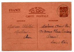 CHER - Dépt N° 18 = MEILLANT 1940 =  CACHET A4 Sur ENTIER IRIS Dos Préimprimé - Postal Stamped Stationery