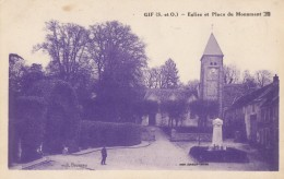 CPA - Gif - Eglise Et Place Du Monument - Gif Sur Yvette