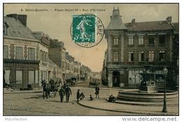 02 SAINT QUENTIN / Place Henri IV, Rue D'Orléans / CARTE COULEUR TOILEE - Saint Quentin