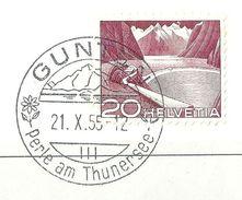 Grimsel 301A, 20 Rp.bräunlichkarmin  GUNTEN  (Abart)           1955 - Gebraucht