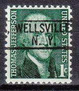 USA Precancel Vorausentwertung Preo, Locals New York, Wellsville 802 - Vereinigte Staaten