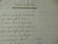 Chanson Poésie Manuscrit Révolution Hymne à La Paix Conseil Des  Cents 19ème - Manuscrits
