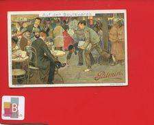 PALMIN Chromo Vie PARIS BOULEVARDS RUE TERRASSE CAFÉ ABSINTHE  MARCHAND JOURNAUX CRIEUR - Trade Cards