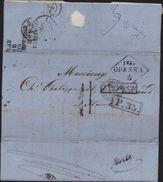 Russie Griffe Losange 1859 Odessa Marque D'entrée Bleu Vert Aus Prusse Par Valenciennes  P35 Taxe 11 Porto Breslau 10F - 1857-1916 Empire