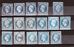 Lot De N° 14 Napoléon III Non Dentelé (dont 4 Bleu-noir) - 1853-1860 Napoleon III
