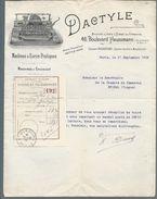 Facture  Théme  Machine à écrire  DACTYLE    Année 1909 - France