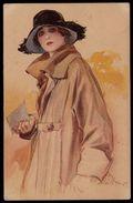 CPA ITALIENNE Signée - Illustrateur ? : Femme Portant Lettre - Art Deco - Chapeau - édit. Gasparini Milano - Künstlerkarten