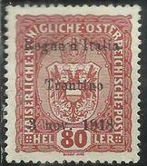 TRENTINO ALTO ADIGE 1918 SOPRASTAMPATO AUSTRIA OVERPRINTED H 80 HELLER MNH - 8. Occupazione 1a Guerra