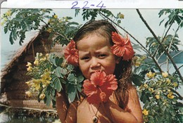 BONNE ANNEE : Petite Polynésienne ( Meilleurs Voeux De Polynésie ) Carte Double - Neonati