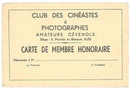 """Carte """" Club Des Cinéastes & Photographes Amateurs Cévenols """", Alès ( Gard ), Carte De Membre - Photographie"""
