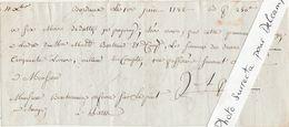 Chèque 1er Juin 1782 / Bordeaux / 250 Livres à Monsieur Bonhomme (?) Orfèvre Le Pont Au Change Paris - Chèques & Chèques De Voyage