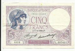 5 Frs , VIOLET , 1.6.1933 , N° C.Fayette : 3.17 , Côte : 12 € - 1871-1952 Frühe Francs Des 20. Jh.