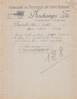 03 1375 CHAVROCHE CHAVROCHES ALLIER 1910 Fabrique De Voitures DESCHAMPS Ex Professeur De Dessin A BERTUCAT - 1900 – 1949