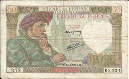 50 Frs , JACQUES COEUR , 24.4.1941 , N° C.Fayette : 19.9 - 1871-1952 Anciens Francs Circulés Au XXème