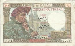 50 Frs , JACQUES COEUR , 18.12.1941 , N° C.Fayette : 19.17 - 1871-1952 Anciens Francs Circulés Au XXème