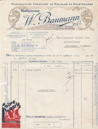 Facture 1936 / W. BAUMANN / Manufacture Bois Courbé / 25 Colombier Fontaine Doubs / Vignette Foire De Paris - Autres