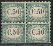 REPUBBLICA DI SAN MARINO 1897 1919 SEGNATASSE POSTAGE DUE TASSE TAXE CENT. 50 MNH QUARTINA BLOCK - Segnatasse